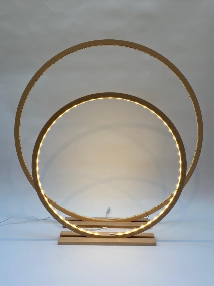 Lampe cercle led en bois naturel 60cm et 80cm