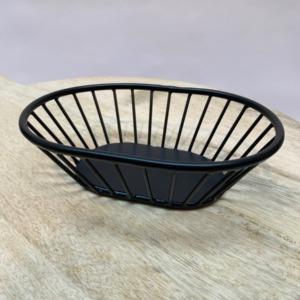 Petite panière en métal peinte en noire - Pomax - Forme ovale 20/15cm. H:5cm