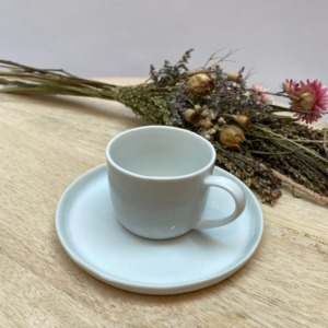 Tasse à café et sa soucoupe (l'ensemble) - Porcelino de Pomax - Diamètre 14cm/6cm