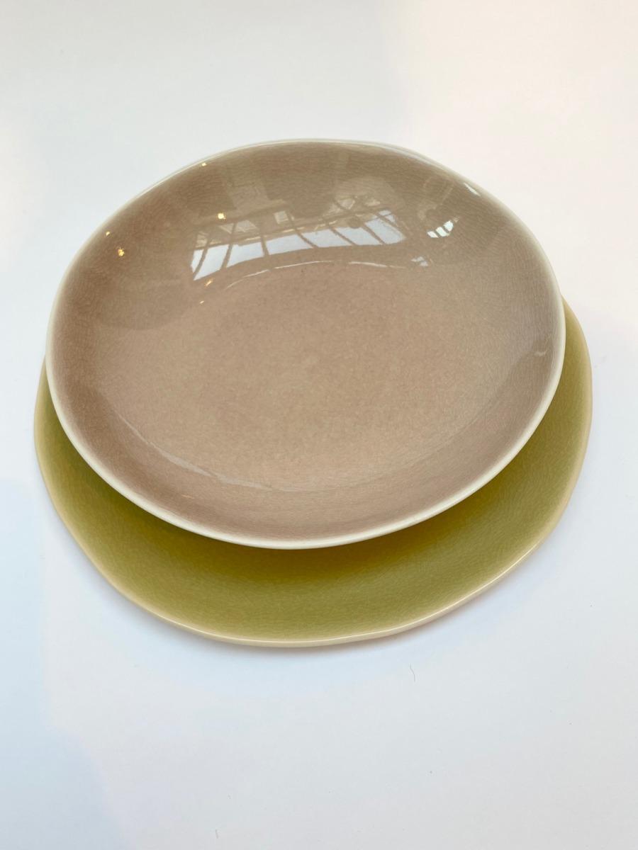 Assiette à pâtes en grès, Jars céramistes, service Maguelone