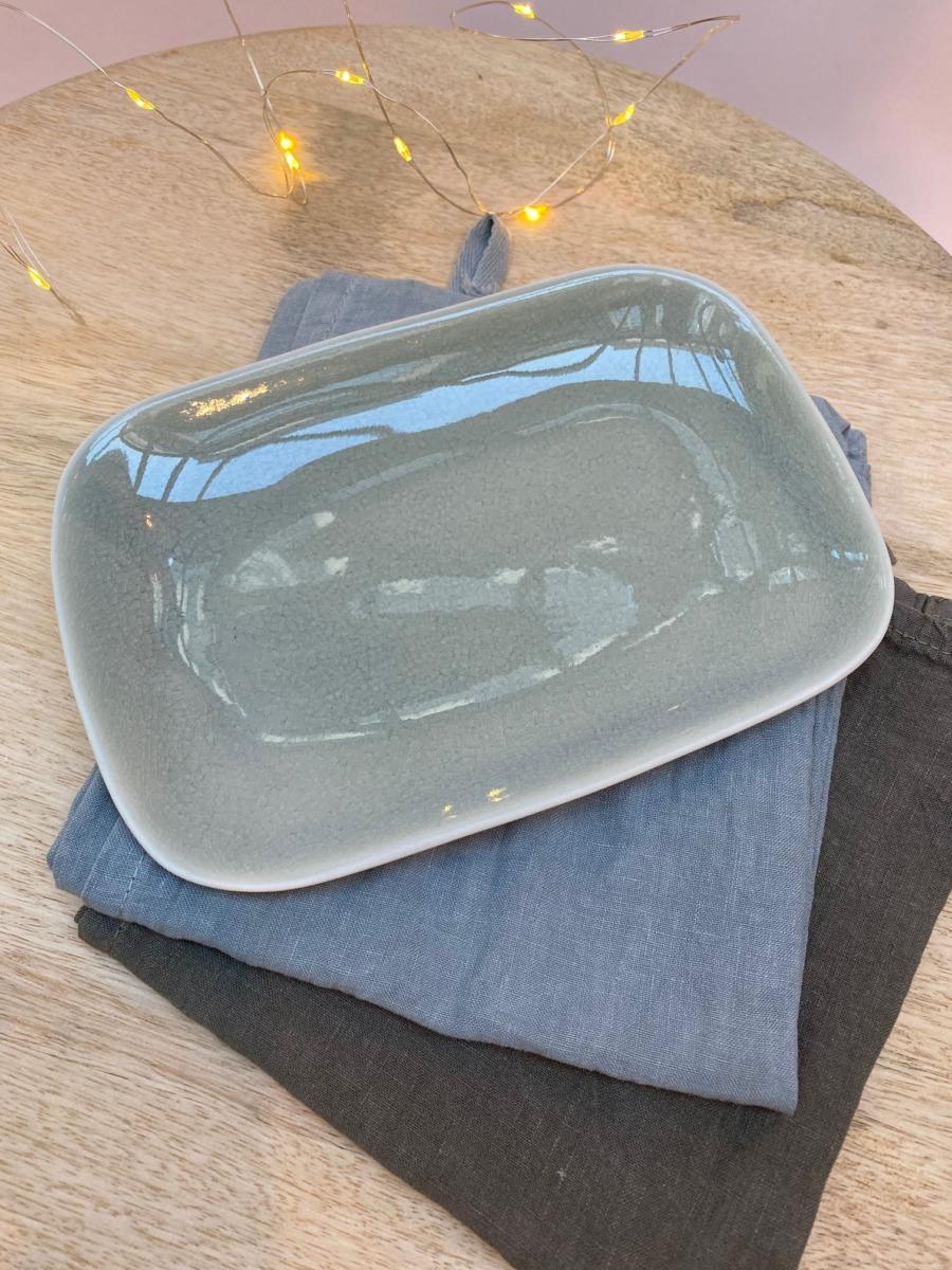 Assiette rectangulaire en grès, Jars céramistes, Cachemire, 14/20cm, H: 2cm, service Maguelone