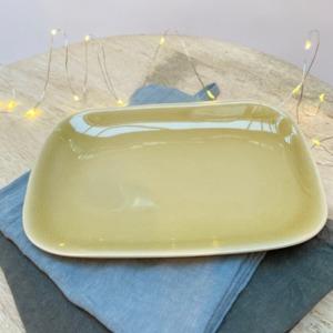 Assiette rectangulaire en grès, Jars céramistes, Genêt, 14/20cm, H: 2cm, service Maguelone