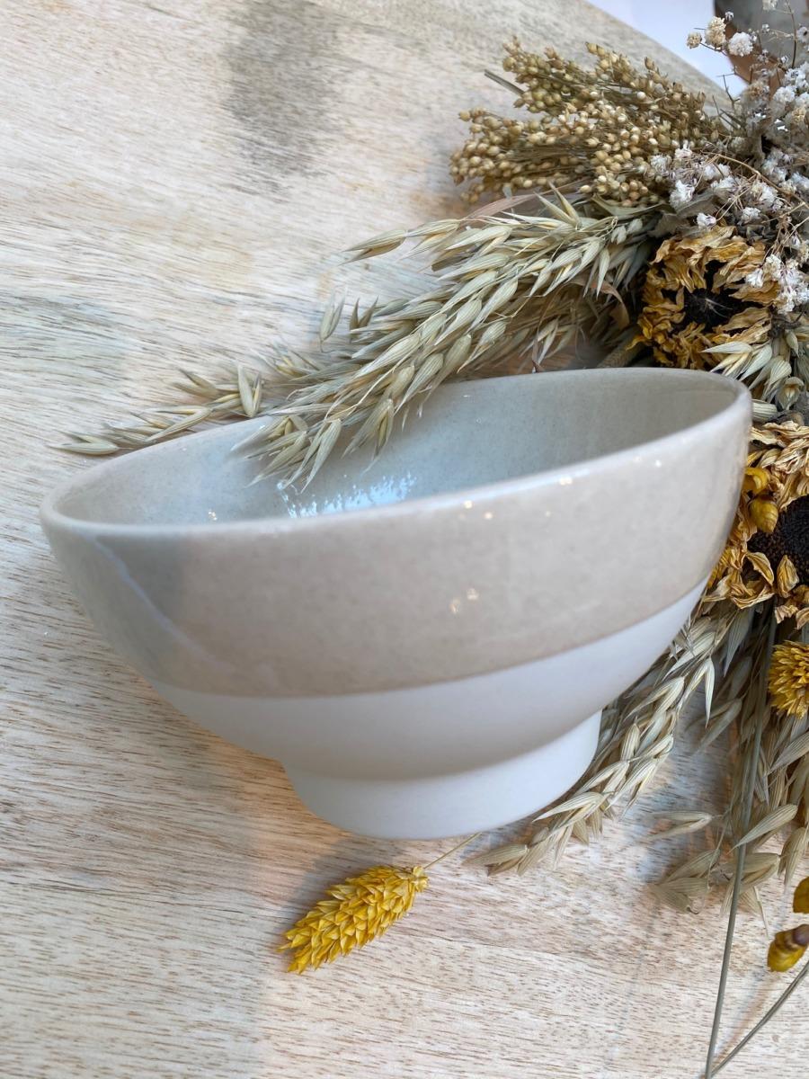 Bol Jars céramistes Diamètre 14cm/ H 7,5cm/ 55cl, Coloris : Beige Corde, Service Cantine