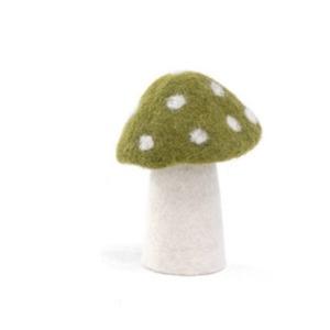 Champignon « dotty » taille L en laine feutrée - Muskhane - Hauteur 11cm - Coloris anis