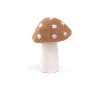 Champignon « dotty » taille L en laine feutrée - Muskhane - Hauteur 11cm - Coloris caramel