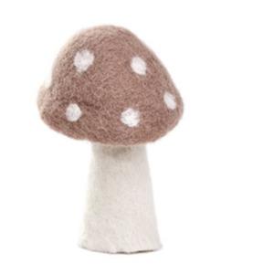 Champignon « dotty » taille L en laine feutrée - Muskhane - Hauteur 11cm - Coloris rose quartz