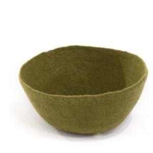 Corbeille S en laine feutrée - Muskhane - Diamètre 24cm. H11cm - Coloris anis