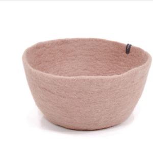 Corbeille S en laine feutrée - Muskhane - Diamètre 24cm. H11cm - Coloris rose quartz