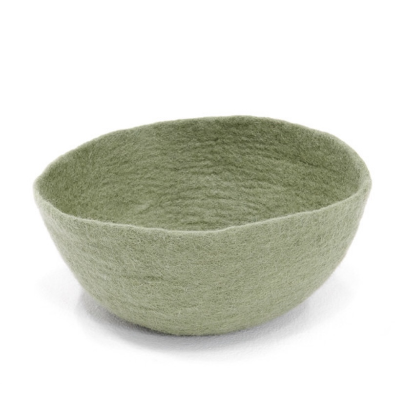 Corbeille S en laine feutrée - Muskhane - Diamètre 24cm. H11cm - Coloris vert tendre