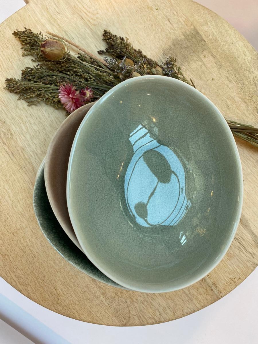 Coupelle ovale en grès, Jars céramistes, Dimensions 18,515cm, H 3,5cm, Contenance 30cl, service Maguelone