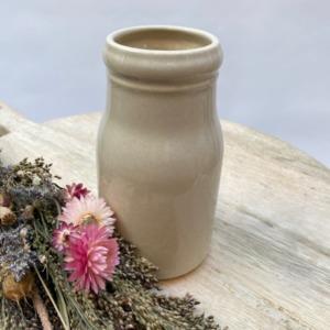 Flacon en grès, Jars céramistes, Beige corde, Diamètre 8,5cm, H: 15cm, Service Cantine