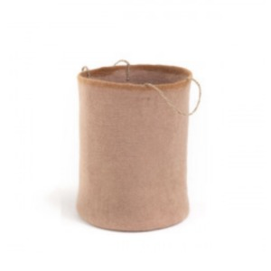 Panier en laine feutrée à poignées en chanvre avec bordure - Muskhane - Diamètre 30cm. H 45cm - Coloris rose quartz