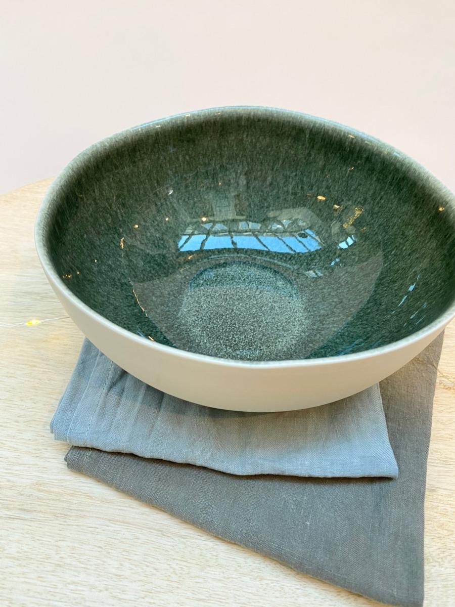 Saladier en grès, Jars céramistes, Orage, Diamètre 22,5cm, H: 9,5cm, service Maguelone