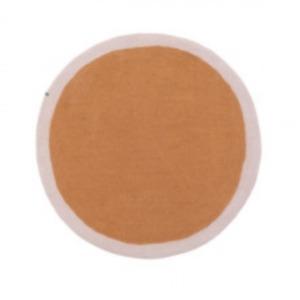 Tapis rond « lumbini » en laine feutrée - Muskhane - Diamètre 120cm - Coloris: caramel/rose quartz