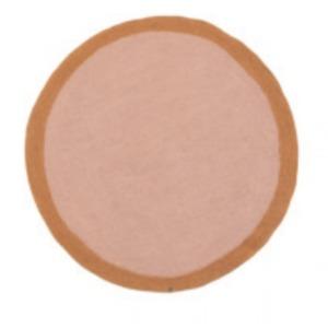 Tapis rond « lumbini » en laine feutrée - Muskhane - Diamètre 120cm - Coloris: rose quartz/caramel