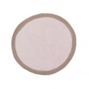 Tapis rond « lumbini » en laine feutrée - Muskhane - Diamètre 120cm - Coloris: sable/gris cendre